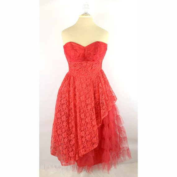 VTG 1950's Red Lace Tulle Handmade Prom Dress