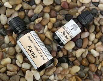 Focus! Organic Essential Oil Blends • Aromatherapy • Your Choice • Attention •  Concentration • Energy •
