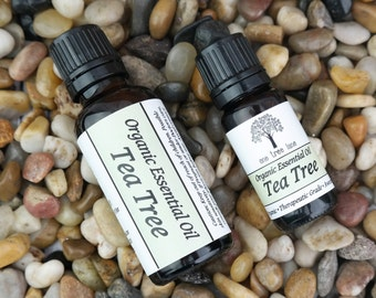 SALE: Organic Tea Tree Essential Oil • Pure • Uncut • Therapeutic Grade • Amber Glass Bottle With Dropper Caps