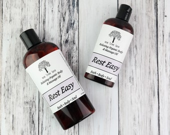 Organic Rest Easy Massage Oil • 4 oz or 8 oz • Vegan Massage • Aromatherapy Oil • Relaxing • Sleep •