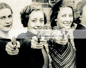Antique Vintage Hipster Girls with Guns Flapper Portrait Photograph - Digital Download Printable - Paper Crafts Scrapbooking Altered Art