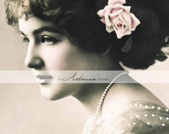 Printable Art Instant Download - Antique Photograph Tinted Beautiful Woman Pink Flower Hair Pearls - Paper Crafts Scrapbooking Altered Art