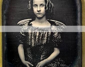 Digital Download Printable Art - Sophie Little Girl Curls Dark Victorian Antique Vintage Photograph - Paper Crafts Scrapbook Altered Art