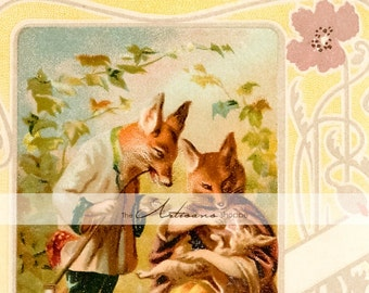 Fox Family Foxes Antique Children's Book Art - Digital Download Printable Art - Paper Craft Scrapbook Altered Art - Woodland Fairy Tale Art