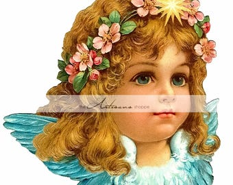 Printable Art Instant Download - Little Angel Beautiful Girl Flowers Victorian Antique Vintage Art - Paper Crafts Scrapbooking Altered Art