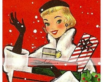 Digital Download Printable Art - Art Deco Christmas Shopper Lady Card Image - Paper Crafts Scrapbook Altered Art - Vintage Christmas Card