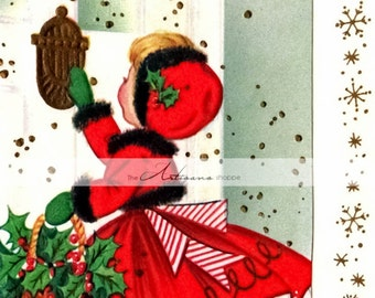 Printable Instant Download Art - Vintage Christmas Card Art Image Holly Berry Red Hello Christmas - Paper Crafts Scrapbooking Altered Art
