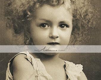 Digital Download Printable Art - Antique Vintage Little Girl Curls Sepia Photograph - Paper Crafts Scrapbook Altered Art - Beautiful Child