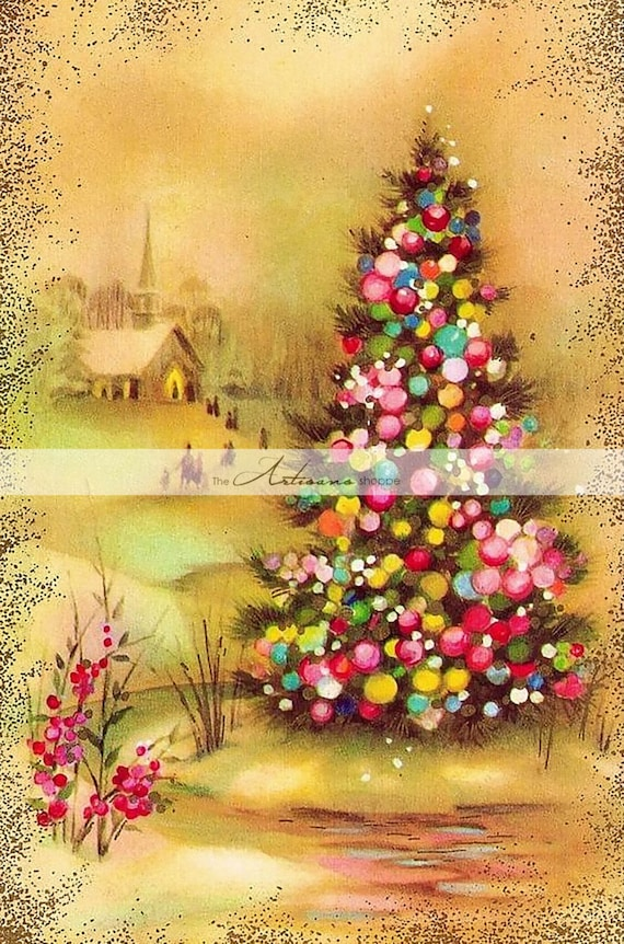 Printable Instant Download Art Vintage Christmas Tree Card | Etsy