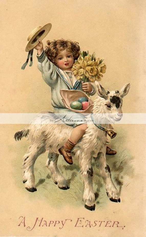 Print at home Easter postcard cut out Girl with Easter eggs Print Antique artwork Instant digital Download send