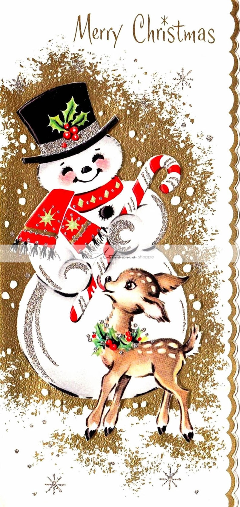e560fe093 Printable Instant Download Baby Deer and Snowman Vintage