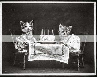 Printable Instant Download - Kittens Birthday Antique Photography - Paper Crafts Scrapbooking Altered Art - Kitten Anthro Animals Birthday
