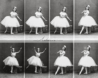 Instant Art Digital Download - Ballerina Frames Vintage Photography - Scrapbooking Paper Crafts Altered Art - Vintage Ballet Photograph