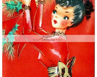 Instant Art Printable Download - Vintage Christmas Card Art Deco Deck the Halls - Paper Crafts Altered Art Scrapbook - Red Holly Christmas