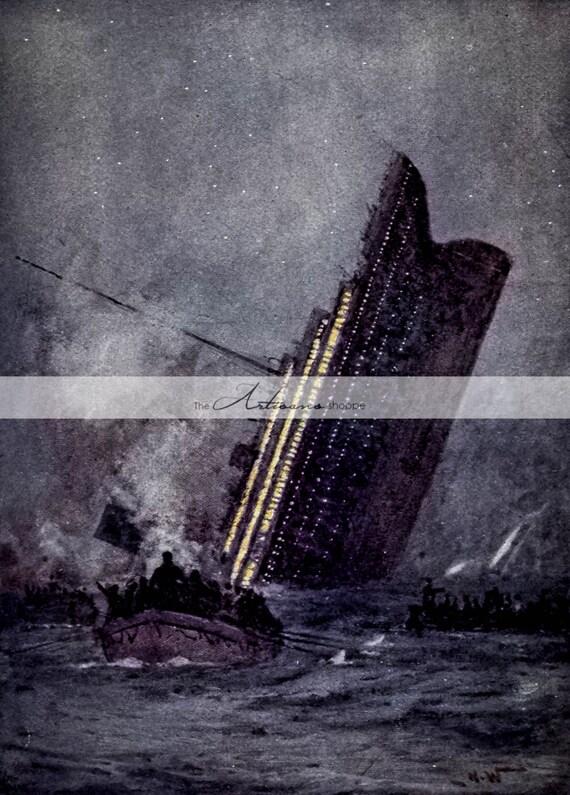 digital download printable titanic sinking ship disaster etsy