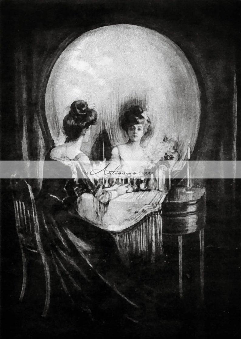 digital printable illusion optical skull antique mirror woman victorian visual paper painting