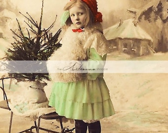 Digital Download Printable - Antique Hand Tinted Christmas Portrait Girl with Christmas Tree in Sled - Paper Crafts Scrapbooking Altered Art