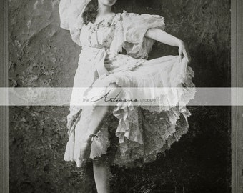 Printable Download - Antique Cabinet Portrait of Ballerina Nora Lambert - Paper Crafts Altered Art Scrapbooking - Antique Ballet Photograph