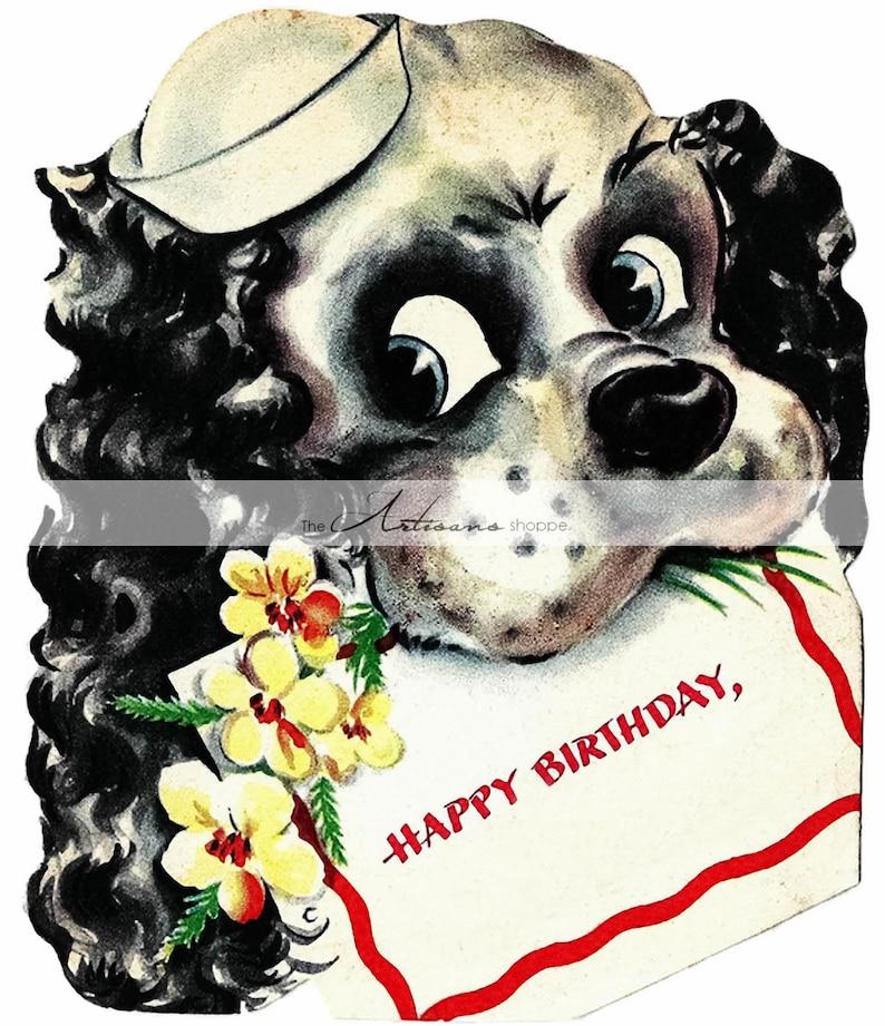 Cucciolo Cane Buon Compleanno Cocker Spaniel Cartolina Vintage Etsy