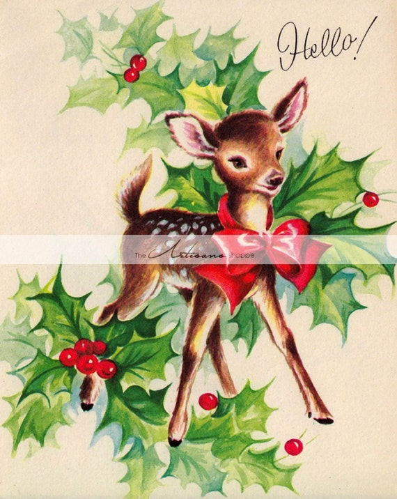 Instant Art Printable Download , Vintage Christmas Deer Holly Berry Card  Image , Paper Crafts Altered Art Scrapbooking , Christmas Card Art