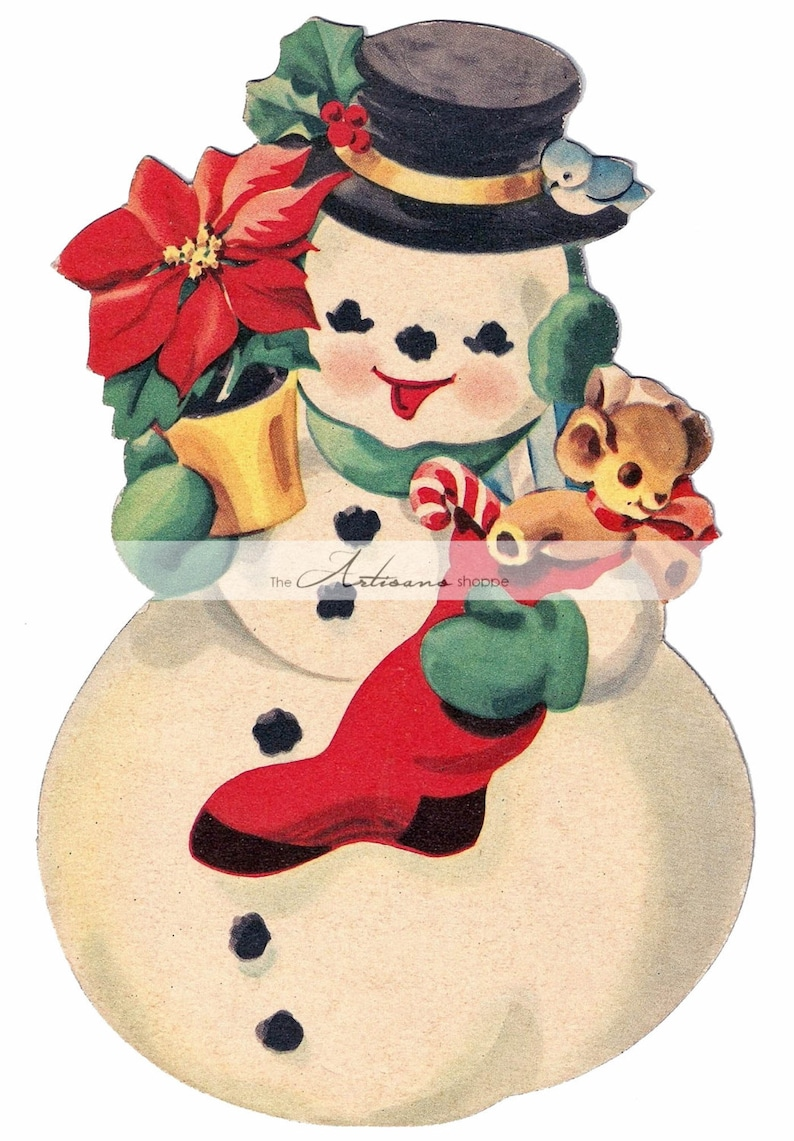 photo relating to Vintage Christmas Sheet Music Printable,frosty the Snowman named Prompt Artwork Printable Down load - Xmas Snowman Classic Card - Paper Crafts Sbooking Adjusted Artwork - Basic Xmas Card Snowman