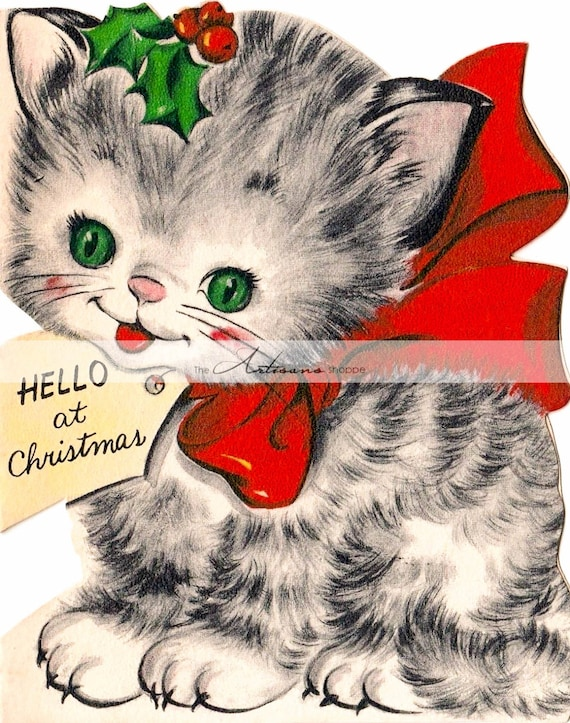 Kitten Christmas.Printable Instant Download Vintage Christmas Kitten Card Image Paper Crafts Scrapbook Altered Art Vintage Cute Cat Kitty Christmas Art