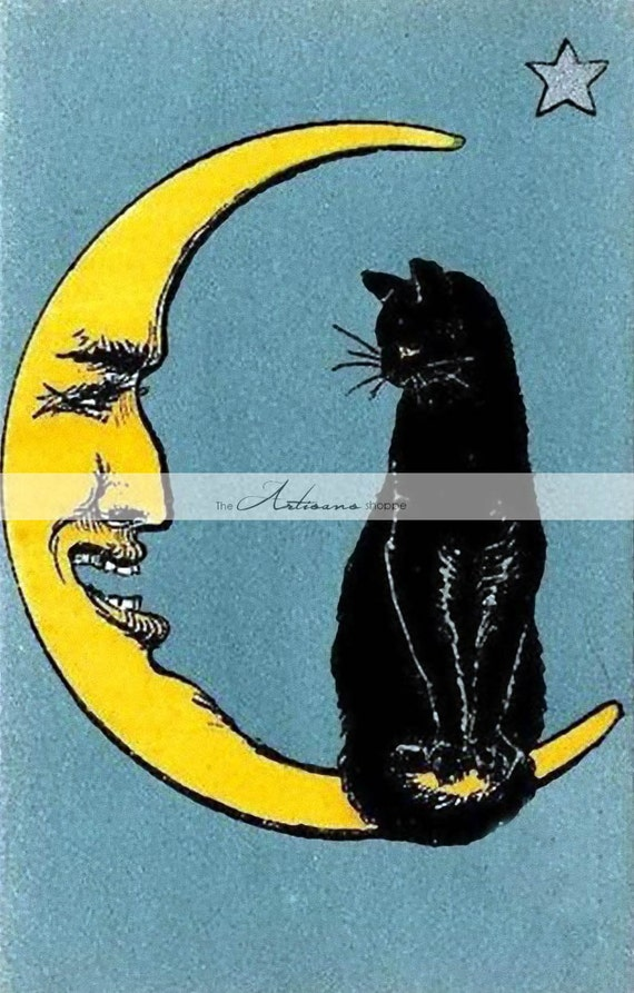 Halloween Stencil~Vintage~WHEN YOU WISH UPON A STAR~Black Cat Witch Moon