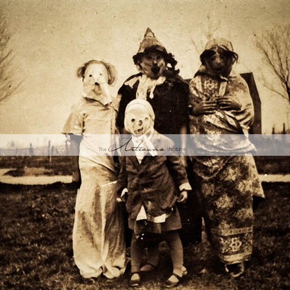 Trick or Treat Creepy Scary Halloween Costumes Antique Photograph , Instant  Art Printable Download , Altered Art Scrapbook Paper Crafts
