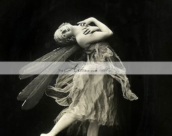 Antique Ballerina Fairy Dance Ballet Photograph - Instant Art Printable Download - Scrapbook Paper Crafts Altered Art - Vintage Black White