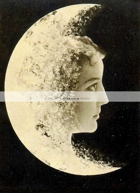 Moon Face Luna Woman Astrology Night Antique Vintage Photography , Digital  Download Printable Image , Paper Crafts Scrapbooking Altered Art