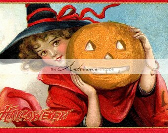Vintage Halloween Witch in Red Pumpkin Jack O'Lantern - Digital Download Printable Image - Paper Crafts Scrapbook Altered Art - Postcard Art
