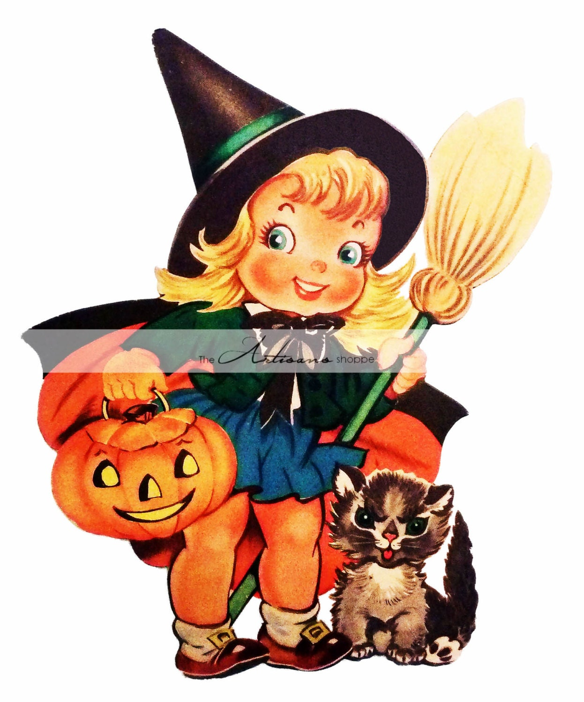 digital download printable art vintage cute witch halloween | etsy