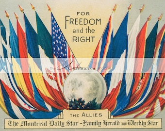 Flags of Freedom Countries Moon World War - Antique Digital Download Image - Graphic Design Wall Art Print - Paper Crafts Art Image Transfer