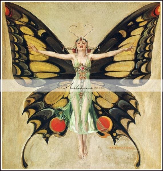 art deco butterfly girl sofortige kunst druckf higen etsy. Black Bedroom Furniture Sets. Home Design Ideas
