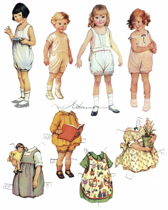 image relating to Printable Vintage Paper Dolls named Classic Paper Doll Assortment - Electronic Obtain Printable - Paper Crafts Sbook Transformed Artwork - Common Antique Paper Dolls Printable