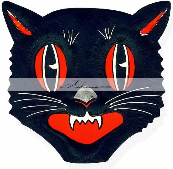 Digital Download Printable Art , Black Cat Vintage Halloween Art Image ,  Scrapbook Paper Crafts Altered Art , Vintage Halloween Decor Art