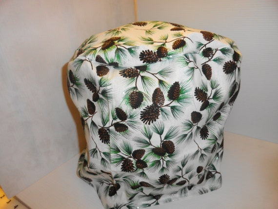 Surgical Scrub Hats//Caps Winter Pine branches and pine cones on white fabric
