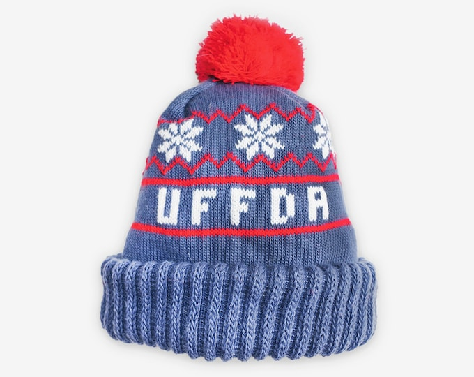 UFFDA Beanie, Made in Minnesota, Red and Blue, Stocking Hat