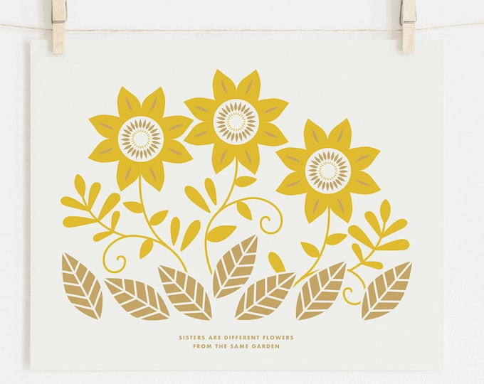 SISTERS, SUNFLOWERS print