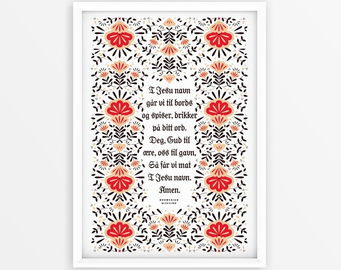 Norwegian Table Blessing, Digital Download Print, 11x14, RED