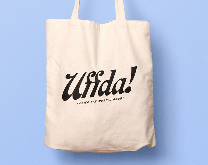 UFFDA Tote Bag, Natural 100% Cotton, 15""