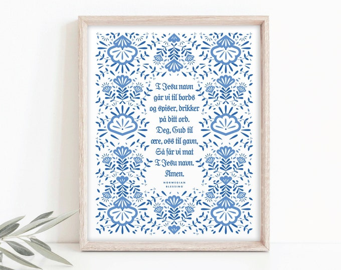 8x10 Norwegian Blessing (Table Prayer), Limited Edition Nordic Print, Norwegian Scandinavian folk art, I Jesu Navn