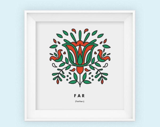 Father, Far, square print, Scandinavian, Fathers day, 8x8, Wall art, Norwegian, folk art