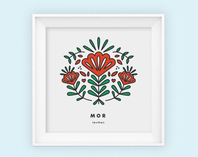 Mother, Mor, square print, Scandinavian, Mothers day, 8x8, Wall art, Norwegian, folk art