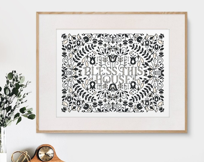 Bless This House, Modern Nordic Print, Norwegian folk art, 11x14 or 8x10