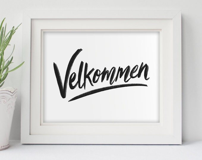 11x14 or 8x10 Velkommen (Norwegian Welcome) Modern Nordic Print, Norwegian Scandinavian folk art, A Happy Welcome!