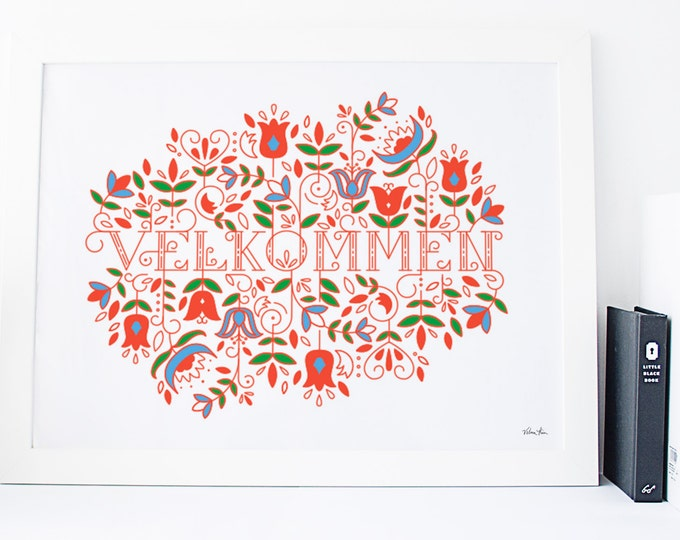 "11x14 ""Velkommen"" (Welcome) Nordic Risograph Print (Limited Edition), 3-color print (red, blue, green), Norwegian Scandinavian folk art"
