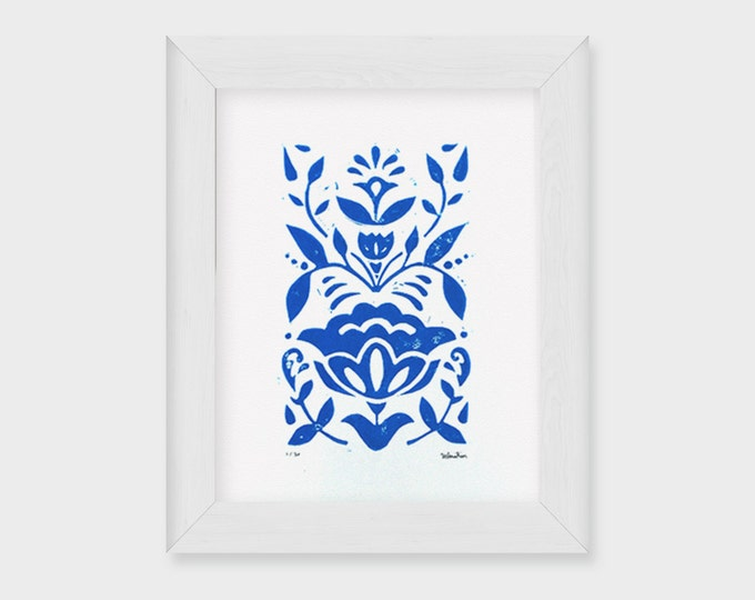 5x7 Sanna Floral Linocut Print, Nordic Rosemaling, Block Print in Blue, Modern Scandinavian Folk Art