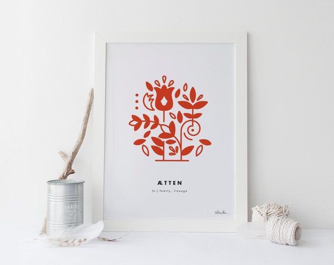 "8x10 ""Atten"" (Family, Lineage) Nordic Word Print, red and white, Norwegian Scandinavian folk art illustration"
