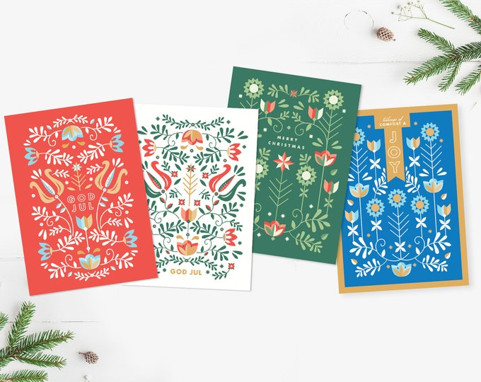 Nordic Christmas Cards, 4-pack or 16-pack, Scandinavian Holiday